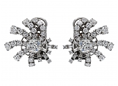 Mid-Century Diamond Earrings in Platinum