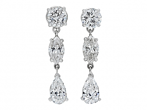 Diamond Dangle Earrings, 5.91 total carats, in Platinum
