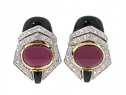 David Webb Ruby, Diamond and Onyx Earrings in 18K and Platinum