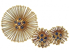 Cartier Mid-Century Sapphire Earrings and Brooch in 18K