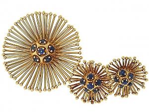 Cartier Mid-Century Sapphire Earrings and Brooch in 18K
