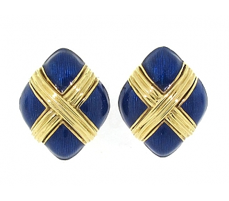 Tiffany & Co. Blue Enamel Earrings in 18K