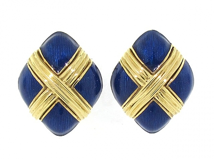 Tiffany & Co. Blue Enamel Earrings in 18K