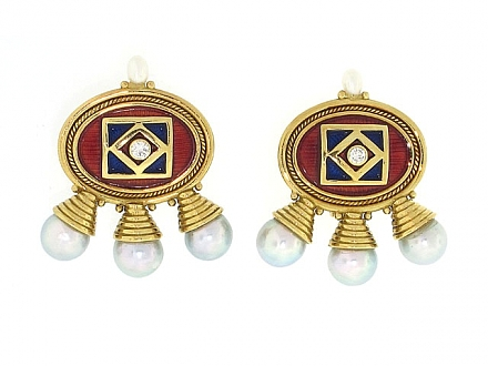 Elizabeth Gage African Queen Enamel and Pearl Earrings in 18K