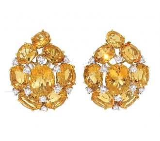 Citrine and Diamond Earrings in 18K