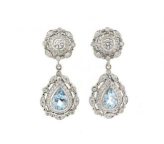 Doris Panos Aquamarine and Diamond Earrings in 18K
