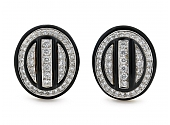 David Webb Diamond and Black Enamel Earrings in 18K and Platinum