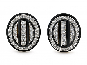 David Webb Diamond and Black Enamel Earrings in 18K and Platinum