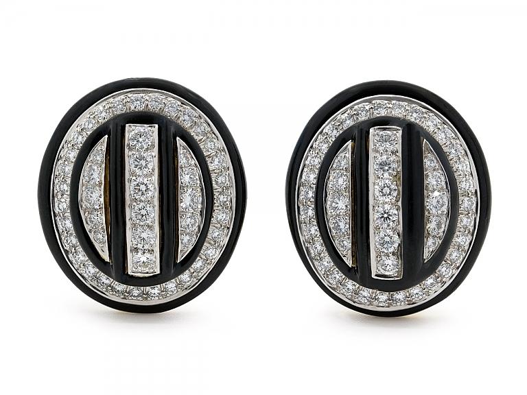 Video of David Webb Diamond and Black Enamel Earrings in 18K and Platinum