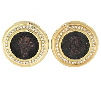 Tallarico Ancient Coin Earrings in 18K