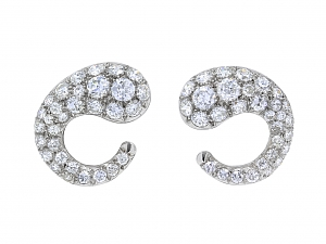 Mid-Century Diamond Spiral Earrings in Platinum