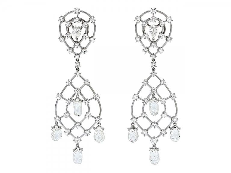Video of Diamond Briolette Chandelier Earrings in Platinum