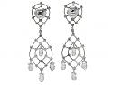 Diamond Briolette Chandelier Earrings in Platinum
