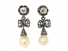 Antique Diamond and Natural Pearl Earrings in Silver and Gold