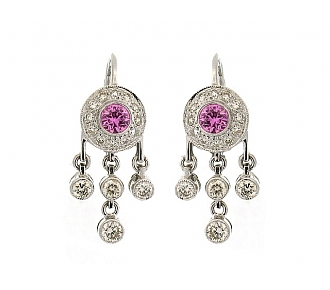 Pink Sapphire and Diamond Earrings in 18K