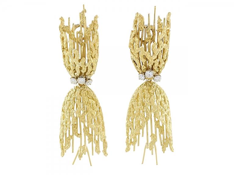 Video of Modernist Diamond Earrings in 18K