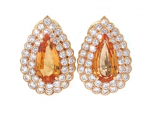 Oscar Heyman Precious Topaz and Diamond Earrings in 18K