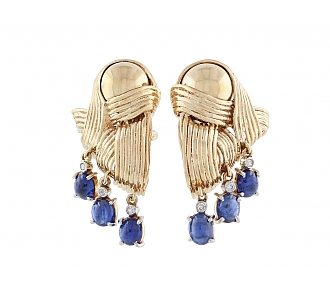 Retro Sapphire and Diamond Earrings in 14K