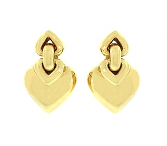 Bulgari 'Doppio Cuore' Heart Earrings in 18K