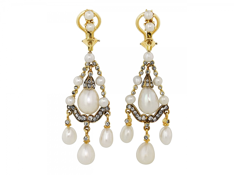 Video of Antique Victorian Natural Pearl, Cultured Pearl and Diamond Earrings in Silver and Gold