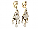 Antique Victorian Natural Pearl, Cultured Pearl and Diamond Earrings in Silver and Gold