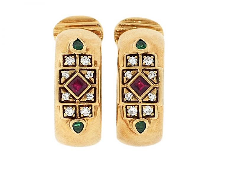 Video of Cartier Ruby, Emerald and Diamond Earrings in 18K