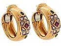Cartier Ruby, Emerald and Diamond Earrings in 18K