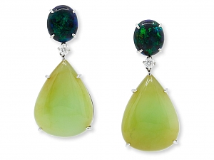 Black and Green Opal and Diamond Earrings in 18K White Gold