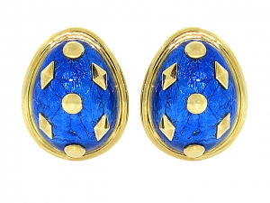 Tiffany & Co. Schlumberger Blue Enamel Earrings in 18K