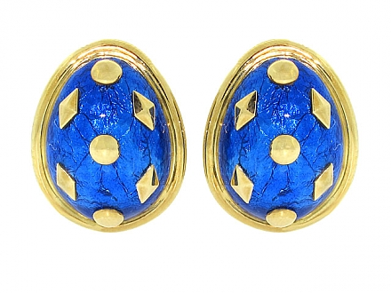 Tiffany & Co. Schlumberger Blue Enamel Earrings in 18K