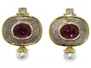 Elizabeth Gage Valios Rubellite Tourmaline Earrings in 18K