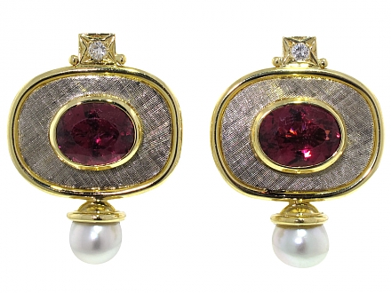 Elizabeth Gage Valios Rubellite Tourmaline Earrings in 18K
