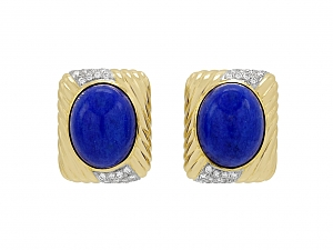 Trio Lapis and Diamond Earrings in 18K Gold