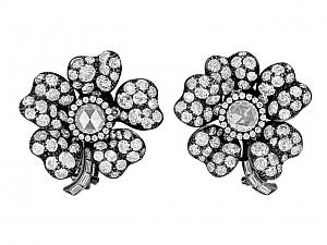 Diamond Flower Earrings in Blackened 18K