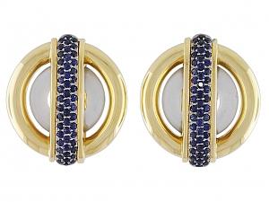 Cartier Aldo Cipullo Sapphire Circles Earrings in 18K