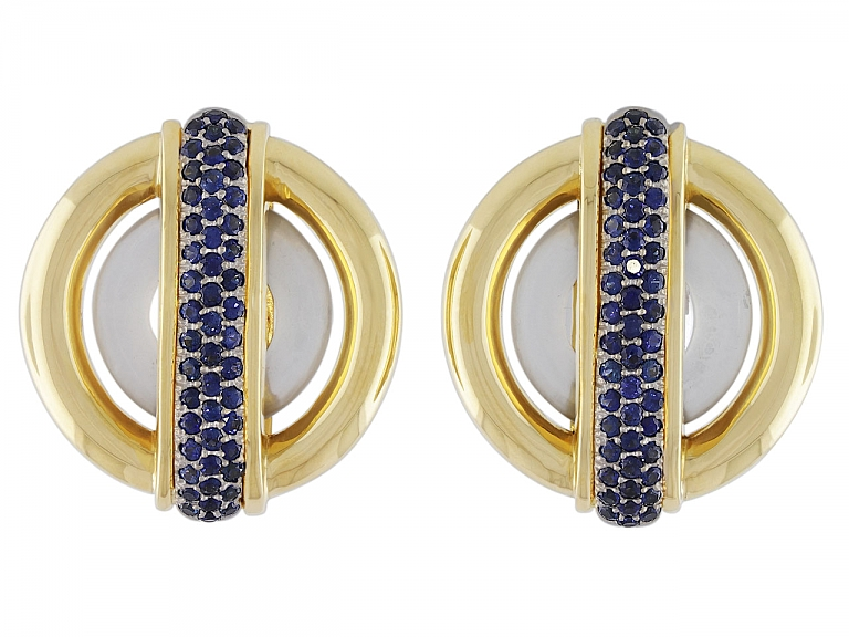 Video of Cartier Aldo Cipullo Sapphire Circles Earrings in 18K
