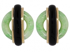 Cartier Aldo Cipullo Jade and Onyx Earrings in 18K