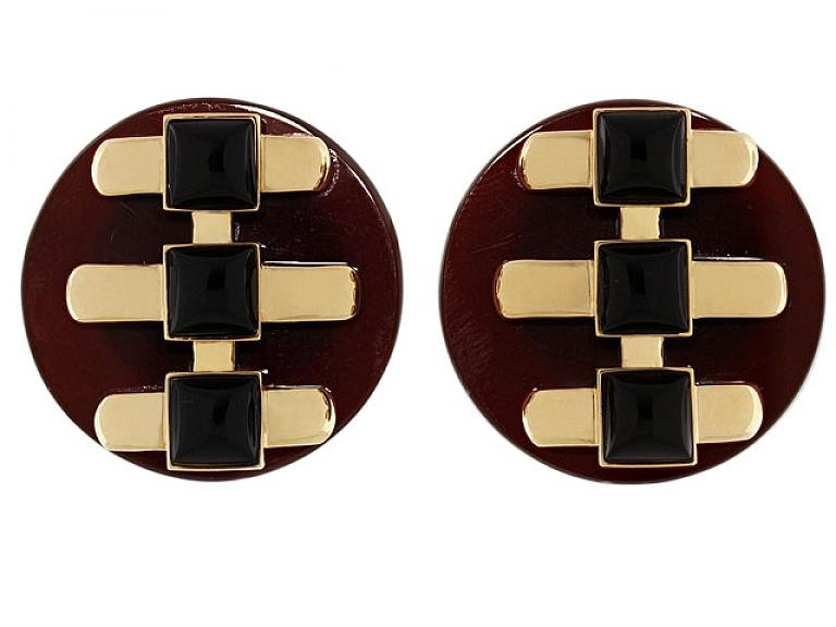 Video of Cartier Aldo Cipullo Carnelian and Onyx Earrings in 18K