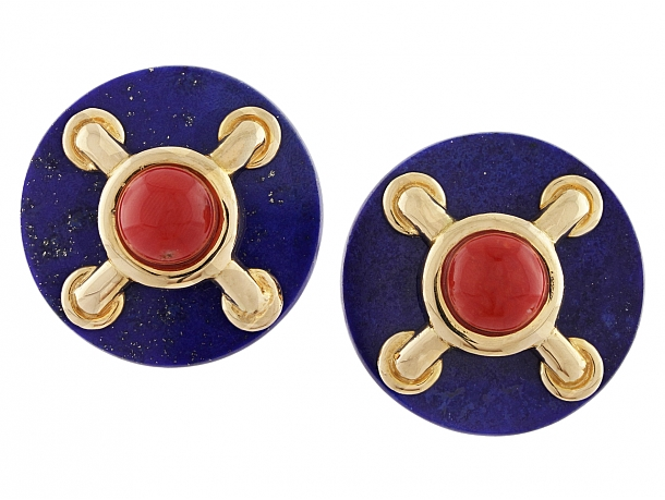 Cartier Aldo Cipullo Lapis and Coral Earrings in 18K