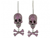 Lydia Courteille Ruby and Diamond Skull and Crossbones Earrings  in 18K