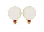 Denise Roberge South Sea Pearl and Ruby Earrings in 22K