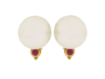 Denise Roberge South Sea Pearl and Ruby Earrings in 22K