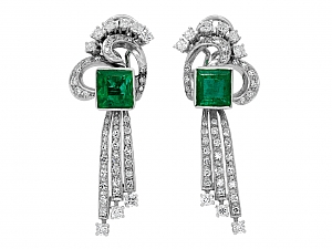 Mid-Century Emerald and Diamond Earrings in 18K White Gold