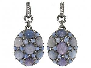 Star Sapphire and Diamond Earrings in 18K