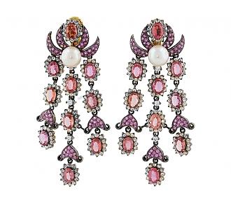 Laura Munder 'Chandelier' Sapphire and Diamond Earrings in 18K