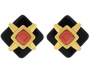 Cartier Aldo Cipullo Onyx and Coral Earrings in 18K