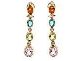 Gemstone and Diamond Earrings in 18K