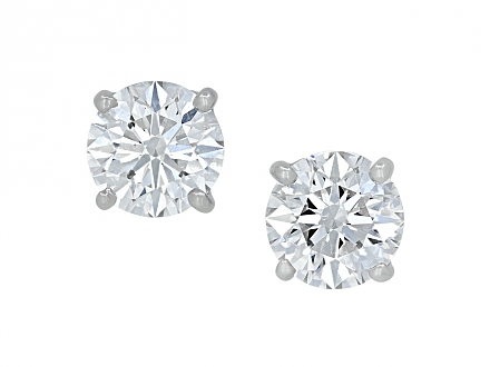 Tiffany & Co. Diamond Stud Earrings in Platinum, 3.60 total carats
