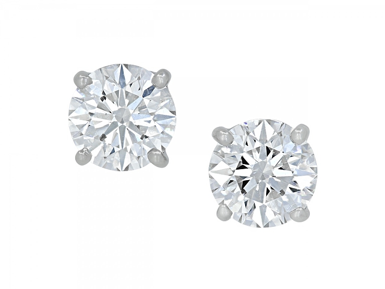 Video of Tiffany & Co. Diamond Stud Earrings in Platinum, 3.60 total carats