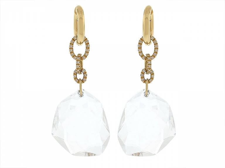 Video of DvF by H.Stern Rock Crystal and Diamond Earrings in 18K Gold